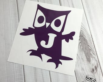 Owl Decal, Owl Monogram Decal, Monogram Owl Decal, Owl Laptop Decal, Owl Car Decal, Owl Window Decal, Owl -  You choose size and color