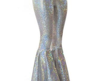 Silver on White Shattered Glass Holographic Sparkling Bell Bottom Flares Leggings with High Waist & Stretchy Spandex Fit  150602