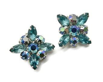 Weiss AB Rhinestone Earrings, Sea Green Rhinestone Silver Tone Clip-ons Signed Weiss Bridal Jewelry