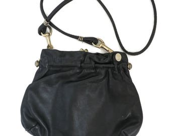 Vintage FS Originals Purse - Black Leather Shoulder Bag, Long Handled Purse, Convertible Clutch Bag