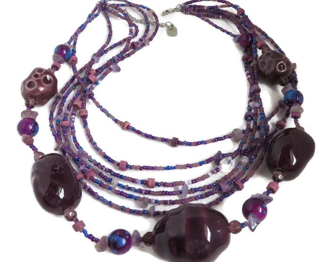 Vintage Purple Multi-strand Necklace | Barrel, Seed Bead Necklace | Boho Jewelry
