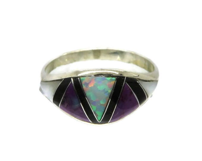 Sugilite Silver Ring, Opal Inlay Ring, MOP Inlay Ring, Onyx Ring, Sterling Silver Ring, Size 8.25, FREE SHIPPING