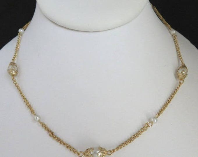Vintage Gold Tone Faux Pearl Choker Chain Necklace