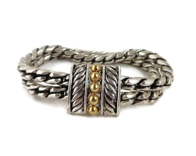 Vintage Two Tone Braided Bracelet, Signed SP Double Strand Bracelet