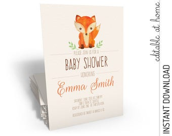 Woodland Baby Shower Invitation, Woodland Baby Shower, Fox Baby Shower Invitation INSTANT DOWNLOAD you personalize at home