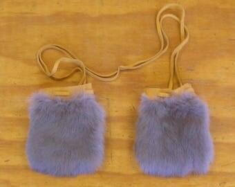 2 Lite Blue Rabbit Fur & Gold Color Deer Leather Bags