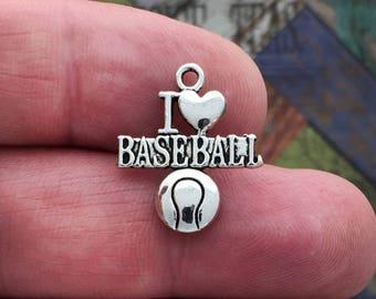 10 Silver I Love Baseball Charm Pendant SP0020