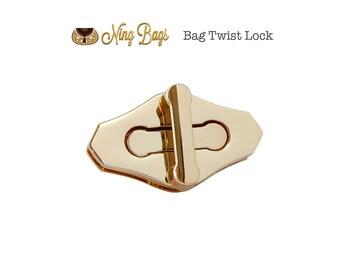 Purse Twist Lock (High Quality), Bag Twist Lock, Bag Turn Lock, Handbag Hardware in Beautiful Light Gold Finish (NEW)