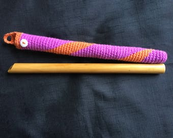 Wooden flute bag, pink flute cover, tin whistle bag, orange whistle case, flutes pouch, recorder woolen bag, tin whistle case, flute cover