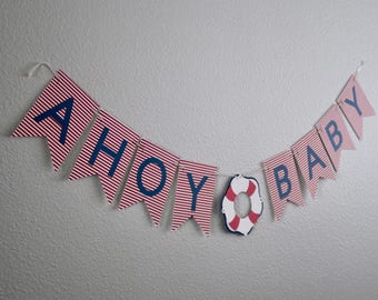Ahoy Baby Shower Banner (Red/Navy), Nautical Theme, Nautical Baby Shower, Nautical Banner