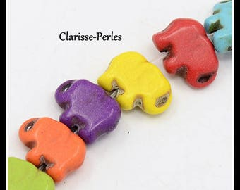 8 beads spacer turquoise howlite elephant multicolor 11x15x5mm hole 1 mm