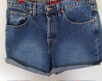 Limited Brand Button Fly Dark Wash High Waist Shorts Size 10