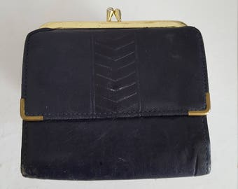 Vintage Navy Lambskin Wallet Princess Gardner