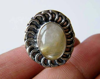 Natural Golden Rutile Ring, Silver Overlay Handmade Ring, Silver Brass Ring, Golden Rutilated Quartz Ring, Size 7 Adjustable Ring SH-5853