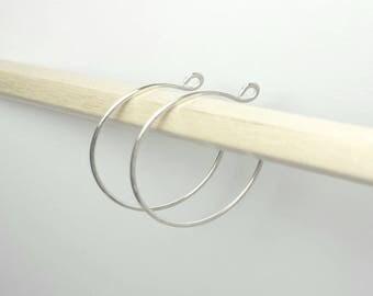 Small silver hoop earrings / Sterling silver 2.5cm hoops  / Modern / Handmade in the UK / 1 inch boho hoops / Karmasilver uk