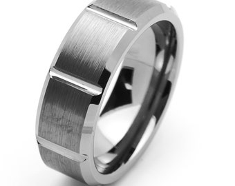 8MM Comfort Fit Tungsten Carbide Wedding Band Beveled Edges Groove Ring(JDTR031)
