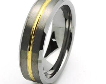 7MM Comfort Fit Tungsten Carbide Wedding Band Beveled Edges Gold Tone Ring(JDTR131)