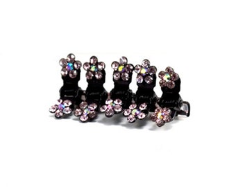 Hand Made Hair Jewelry Flower Mini Jaws swarovski crystal Petals Set of 5 Puple(SO5021-pp)