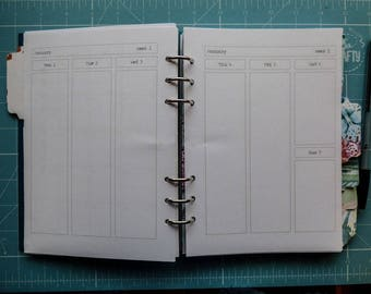 Vertical Undated Week on 2 Pages Planner Insert for your A5 Size, Filofax, Kikki K, Paperchase (RWVB2)