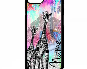 Giraffe african tribal colourful tie dye animal personalised name cover for iphone 4 4s 5 5s 5c 6 6s 7 plus SE phone case