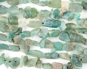 Aquamarine Organic Rough Nugget - Natural Gemstone Beads - Grade AA - Blue - Size: 10x14 to 12x16mm - Center Drill - 10 Beads per Order