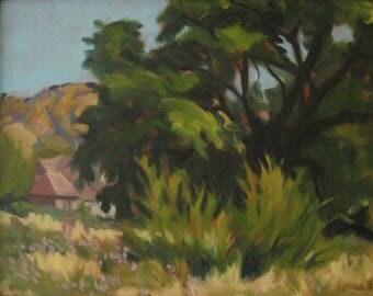 High Noon ORIGINAL Oil Painting - Framed - Plein Air Landscape - Utah - Trees - House - Flowers - Green - Yellow - Pink