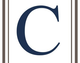 Monogram - Estate - Gray & Blue - C (Art Print - Multiple Sizes Available)