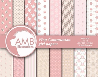 Christian Digital Papers, Girl First Communion Papers, Church Digital Paper,  Religious paper, Scrapbook Papers, Commercial Use, AMB-1919