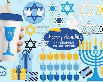 Hanukkah Clipart, Hanukkah Dreidel, Menorah Digital Clipart, Chanukah Clipart, Holiday Clipart, Commercial Use, AMB-1535