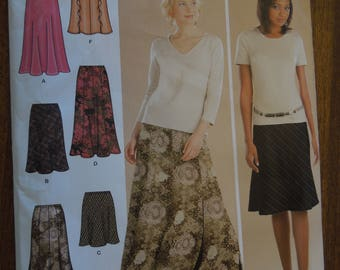 Simplicity 4881, sizes 6-12, skirts, gored and bias, UNCUT sewing pattern, craft supplies