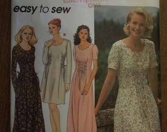 Simplicity 9887, pullover dress, UNCUT sewing pattern, misses, size 6-10