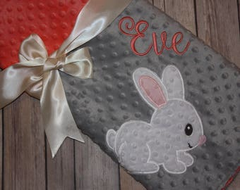 Bunny - Personalized Minky Baby Blanket - Embroidered Bunny Rabbit