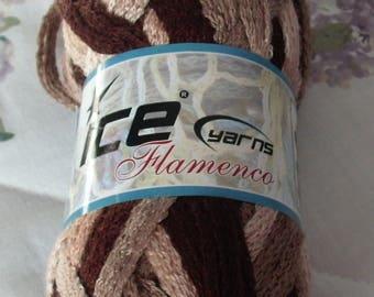 SALE!!  ICE Yarns Flamenco Yarn, Scarf Yarn, Mesh Yarn, Shades of Browns
