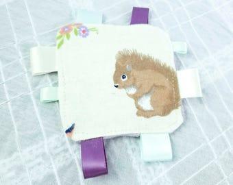 Mini Crinkle Tag Baby Toy   Purple squirrel print