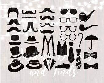 DIGITAL DOWNLOAD svg png gentleman retro hipster cigar pipe mustache beard suspenders glasses classy boy baby shower silhouette cricut HTV