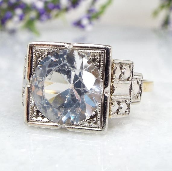 Vintage / Art Deco 9ct Gold Huge 3.5 Carat Statement White Zircon Ring / Size R