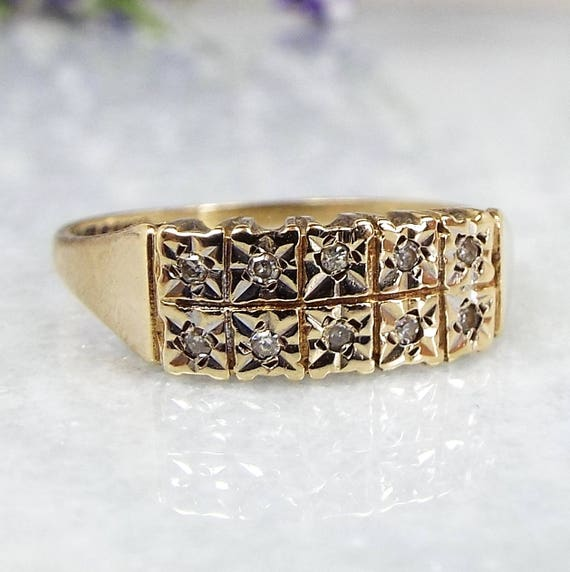 Vintage 1983 9ct Yellow Gold Star Shaped Double Row of Diamonds Ring Size N 1/2