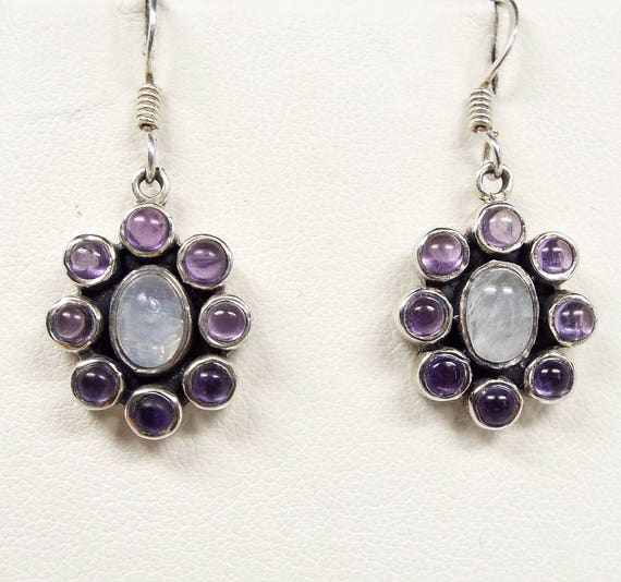 Vintage / Sterling Silver Purple Amethyst & Moonstone Cluster Hook Drop Earrings