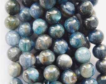 "Genuine Blue Kyanite Beads - Round 5.8 mm Gemstone Beads - Full Strand 16"", 73 beads, AB+ Quality"