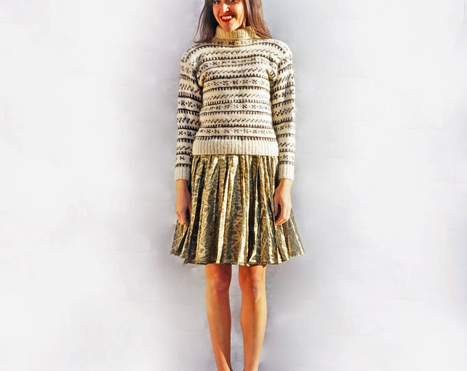 Fair Isle Sweater, 1980s Norwegian Hand Knit Vintage Jumper, Womens Knit Sweater, Cream Wool Pullover, Chunky Wool Jumper, Knitted Jumper