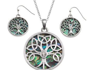 Tide Jewellery Paua Shell Celtic Tree Of Life Pendant & Earrings Gift Boxed