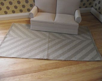Miniature doll house 12th scale  woven rug 1:12  beige and light beige  herringbone design 21cm