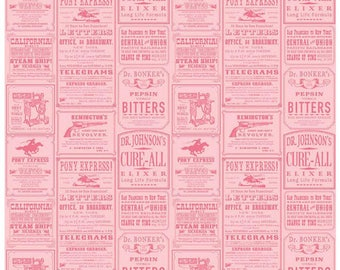 COWBOY - Ads in Pink - Adorable Cowgirl Cotton Quilt Fabric - C5632-PINK - Samantha Walker for Riley Blake Designs Fabrics (W4328)