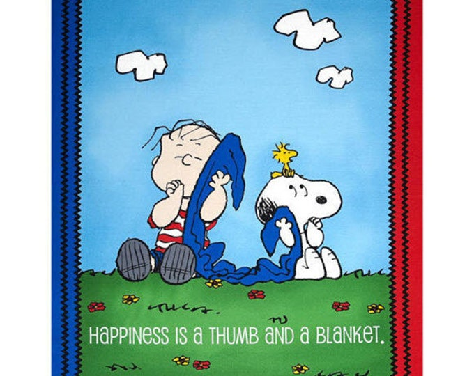 """PROJECT LINUS - Linus & Snoopy 35"""" Panel - Peanuts Charlie Brown Cotton Quilt Fabric - Quilting Treasures Fabrics - 22624-B (W4021)"""