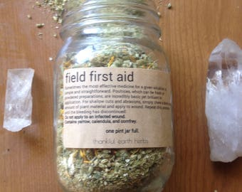 Field first aid. Homegrown poultice. One pint jar full.
