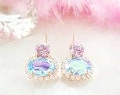 Alexandrite Earrings - Swarovski Crystal Earrings Dangle - Violet Earring - Aquamarine Crystal Earring Iridescent June Birthstone Gift E3824