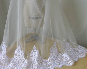 Beautiful Alencon Lace Trim in WHITE for Mantilla Veil, Scallop Lace Veil, Bridesmaids, Costumes