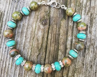 Unakite and turquoise beaded bracelet with silver accents