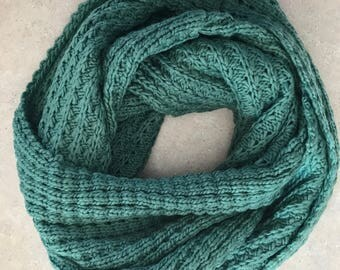 Moss Green Infinity Scarf Hand Knitted Circle Scarf Green Infinity Scarf