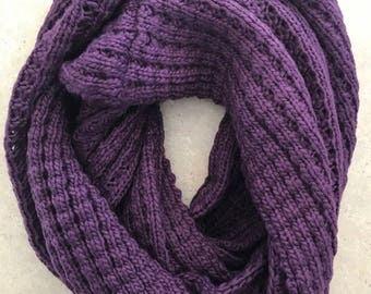 Plum Infinity Scarf Hand Knitted Eggplant Infinity Scarf